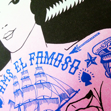 Tattoo Girl –  limited edition 3 colour Risograph. Produced for the Hayward Gallery Shop